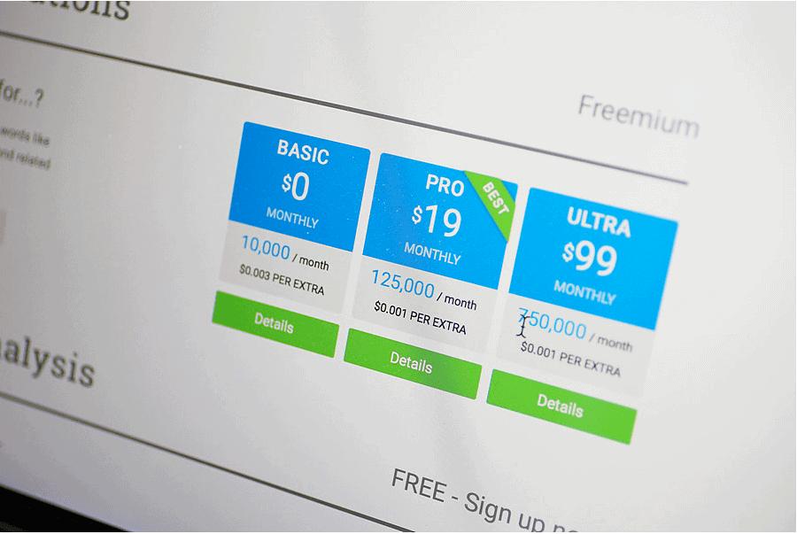 Image of laptop screen showing Twinword API pricing
