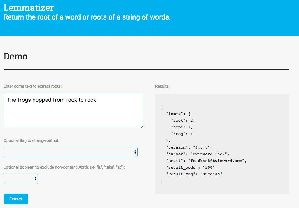 Lemmatizer API