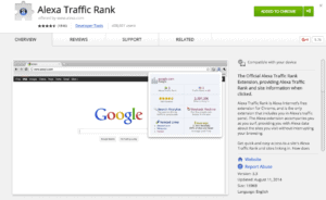 Screenshot of Alexa Traffic Rank Chrome Extension on Chrome Web Store