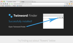 Screenshot of Twinword Finder browser extension with Twinword Finder on tutorial page