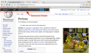 Screenshot of Twinword Finder browser extension with Twinword Finder search bar highlighted