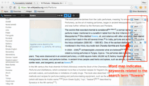 Screenshot of Twinword Finder browser extension with Twinword Finder on web page with word map highlighted