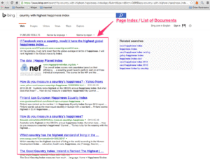 Screenshot of Bing SERP with results highlighted
