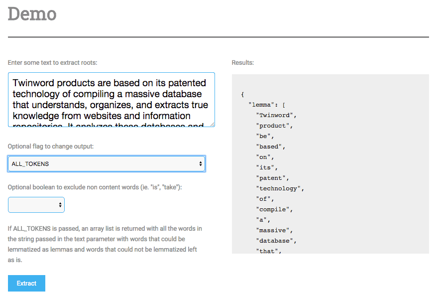 Screenshot of Twinword Lemmatizer API demo
