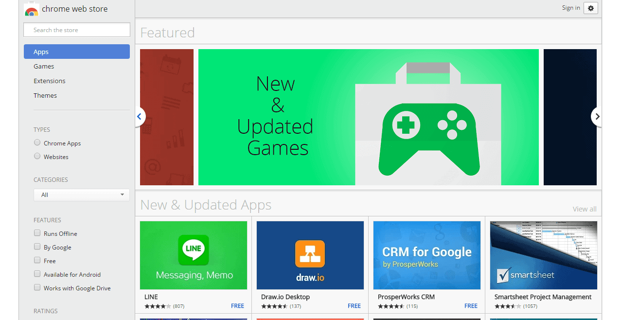Screenshot of Chrome Web Store