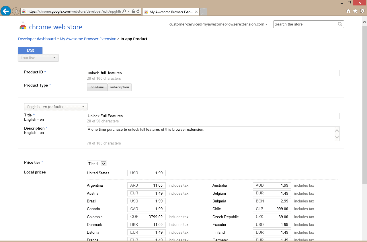 Screenshot of Chrome Web Store In-app Product edit page