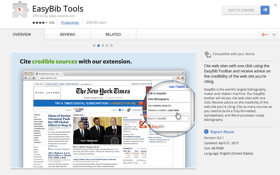 Screenshot of EasyBib Tools Chrome Extension on Chrome Web Store