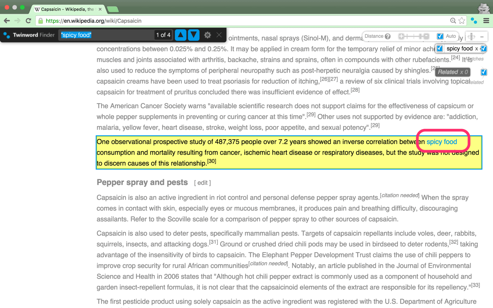 Screenshot of Twinword Finder browser extension with Twinword Finder on web page with results highlighted