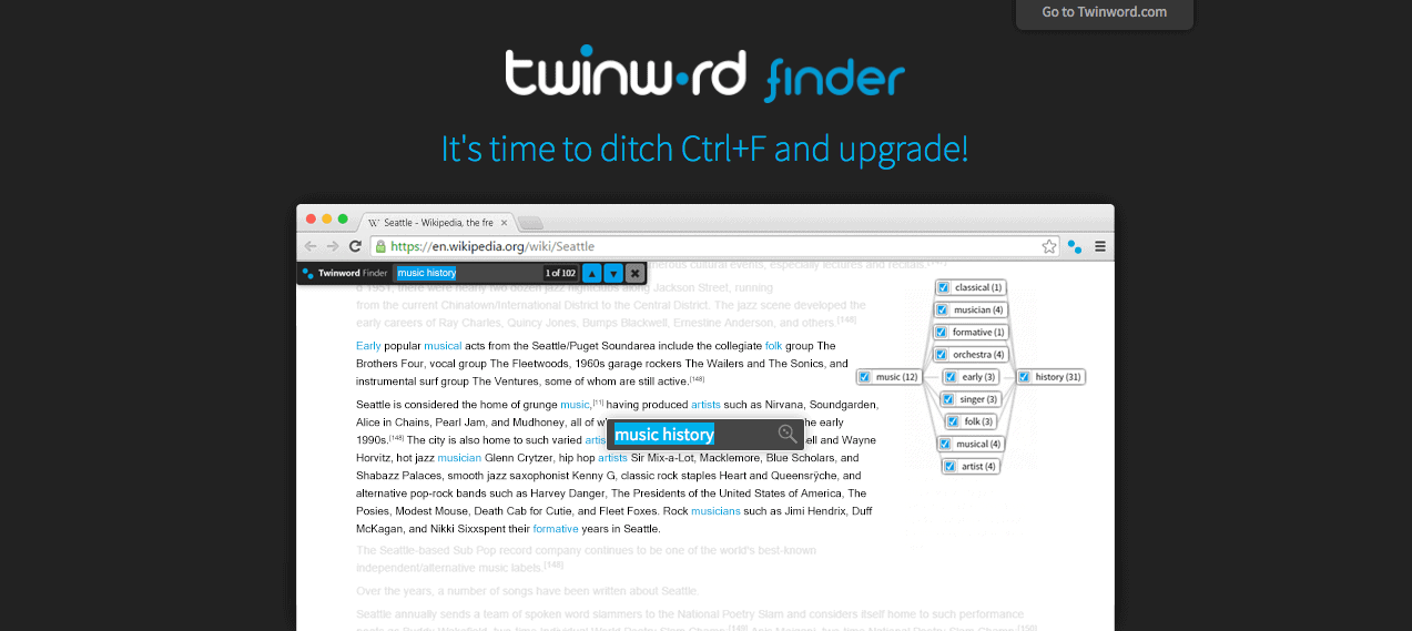 Advanced Ctrl F Search Research Tool Twinword Finder