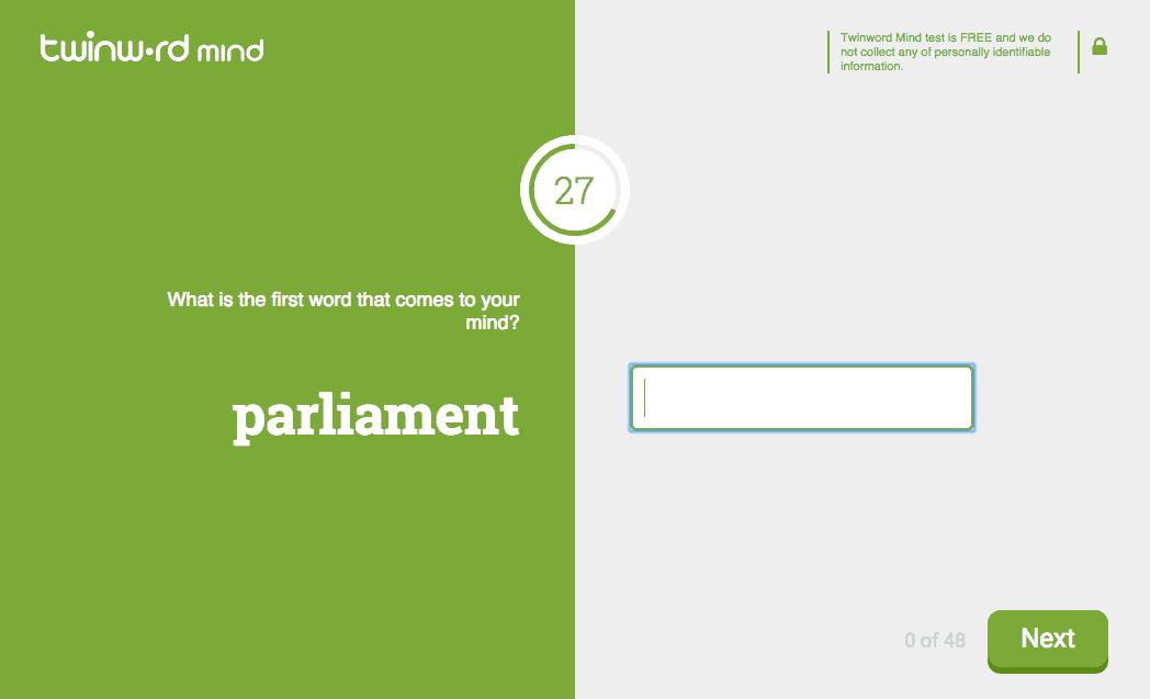 Screenshot of Twinword Mind free association test