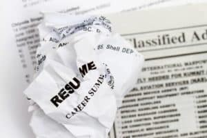 A crumpled up resume