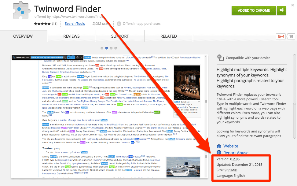 Screenshot of Twinword Finder Chrome Extension on Chrome Web Store with the version highlighted