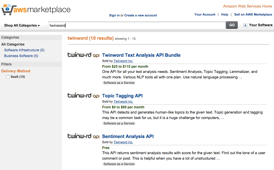Screenshot of Twinword API listing on AWS Marketplace