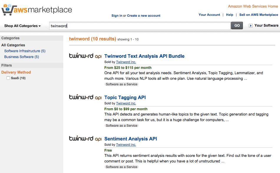 Screenshot of Twinword API listing on AWS Marketplace