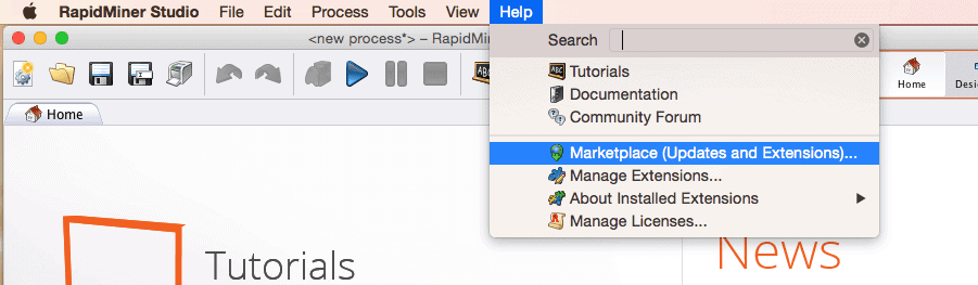 RapidMiner Marketplace Updates and Extensions Menu Screenshot