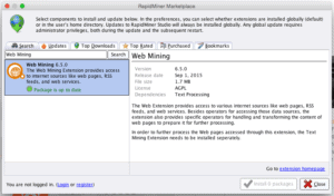 RapidMiner Marketplace Web Miner Extension Screenshot