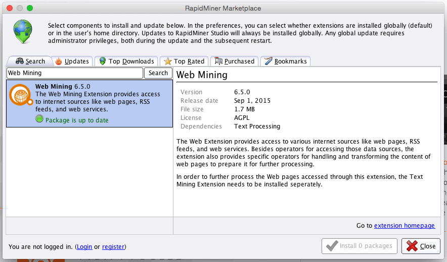 RapidMiner Marketplace Web Miner Extension Screenshot