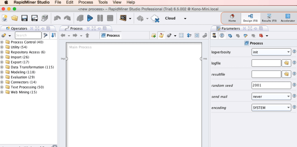 RapidMiner Design Page Screenshot