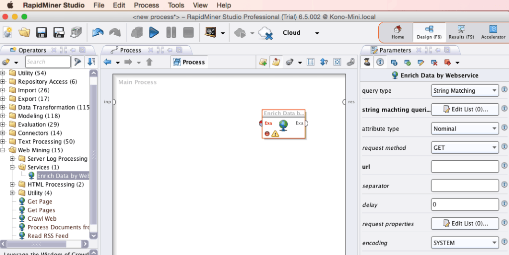 RapidMiner Enrich Data by Webservice Screenshot
