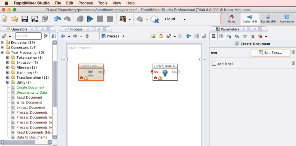 RapidMiner Create Document Screenshot