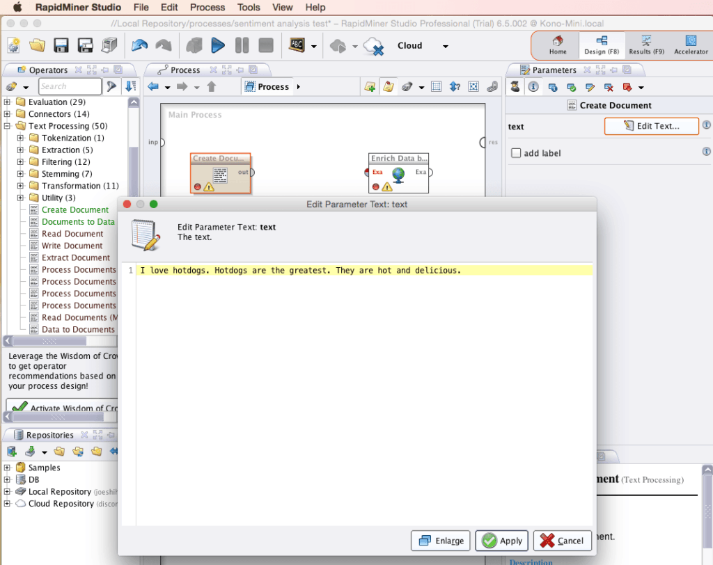 RapidMiner Create Document Edit Text Parameter Screenshot