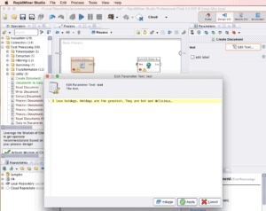 RapidMiner Create Document Edit Text Parameter Screenshot for Twinword Sentiment Analysis