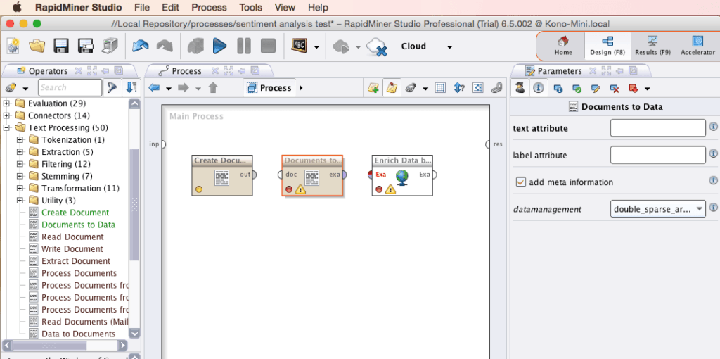 RapidMiner Document to Data Screenshot