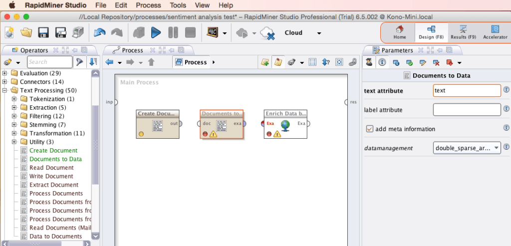 RapidMiner Document to Data Text Attribute Parameter Screenshot