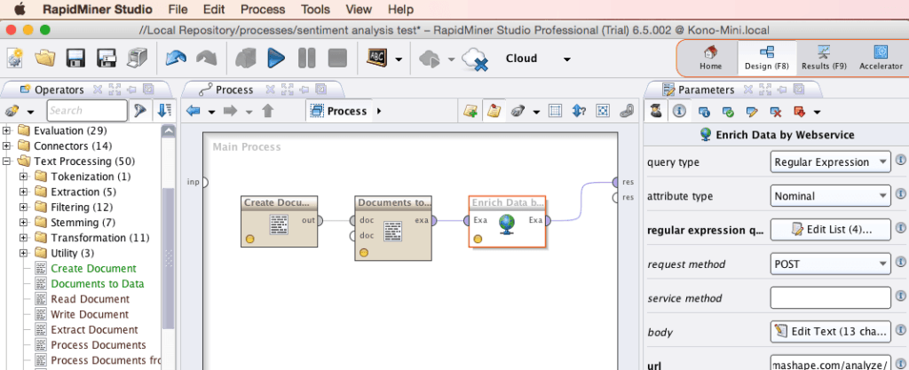 RapidMiner Linking Operators Screenshot