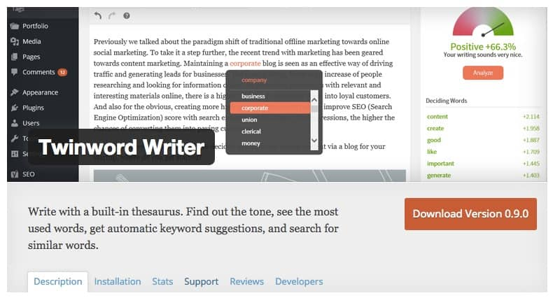 Screenshot of Twinword Writer WordPress Pugin on WordPress Plugin Directory