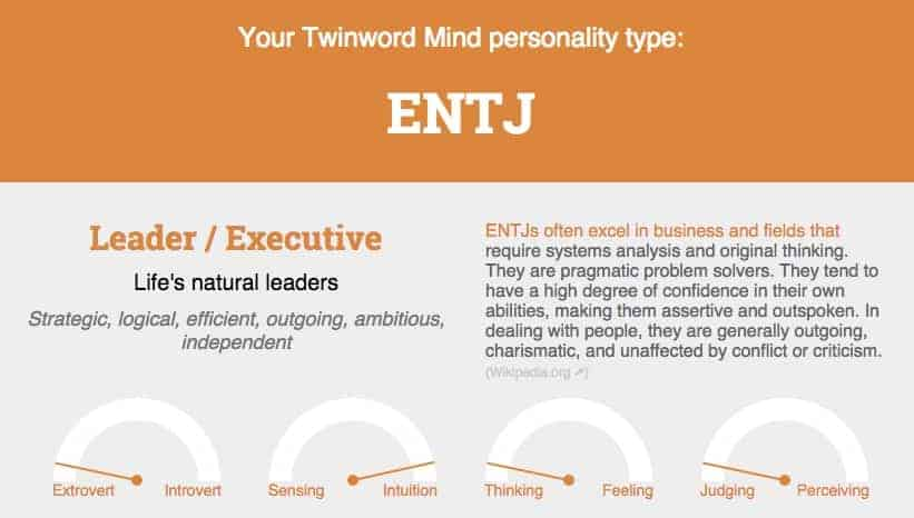 Screenshot of Twinword Mind results