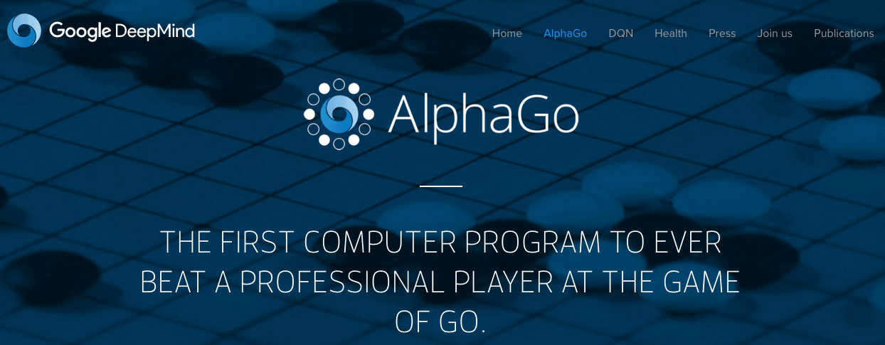 Screenshot of Google DeepMind home page featuring AlphaGo