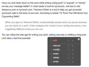 Screenshot of Twinword Writer showing the suggestions drop down box