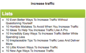 List of generated list type topics related to the words increase traffic