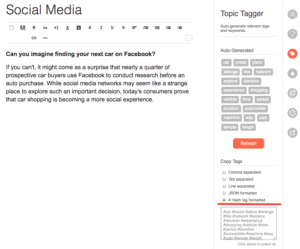 Screenshot of Twinword Writer and the Topic Tagger feature