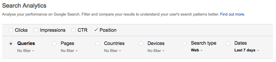 Screenshot of Google Search Console Search Analytics options and filters