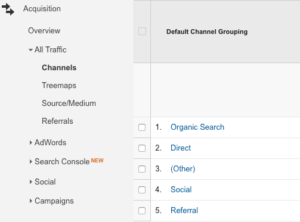 Screenshot of Google Analytics Acquisition menu and Default Channel Grouping