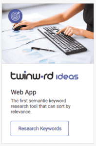 Screenshot of Twinword Ideas app listing in Twinword home page