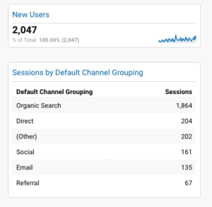 Screenshot of Google Analytics Sessions by Default Channel Grouping