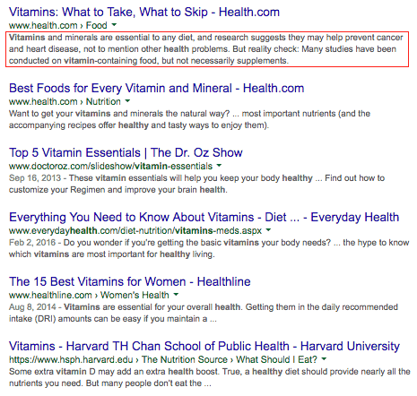 Google SERP with description snippet highlighted