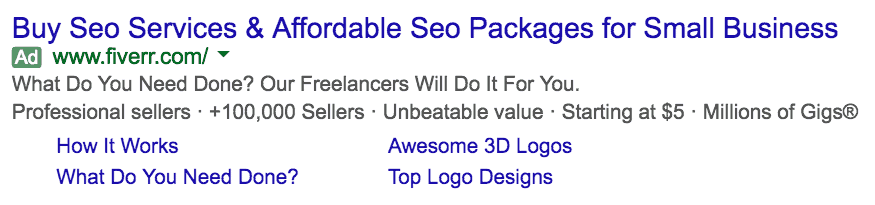 Screenshot of advertisement in Search Results