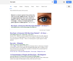 Google SERP of Blue Eyes Query