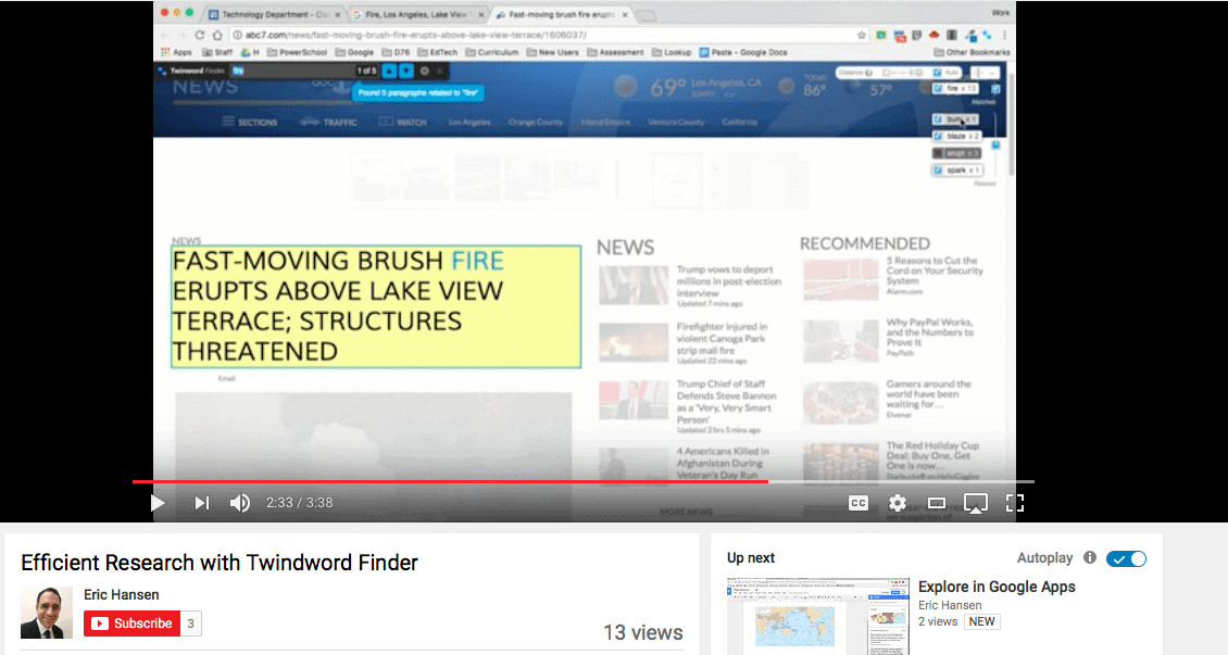 Screenshot of YouTube video about efficient research with Twinword Finder