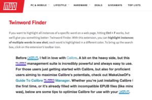 Screenshot from Make Use Of article review on Twinword Finder and other extensions