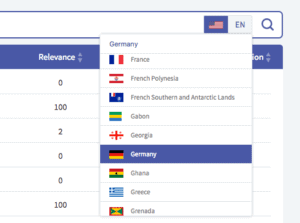 Screenshot of Twinword Ideas country, regional, and language settings