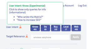 Screenshot of Twinword Ideas User Intent filters