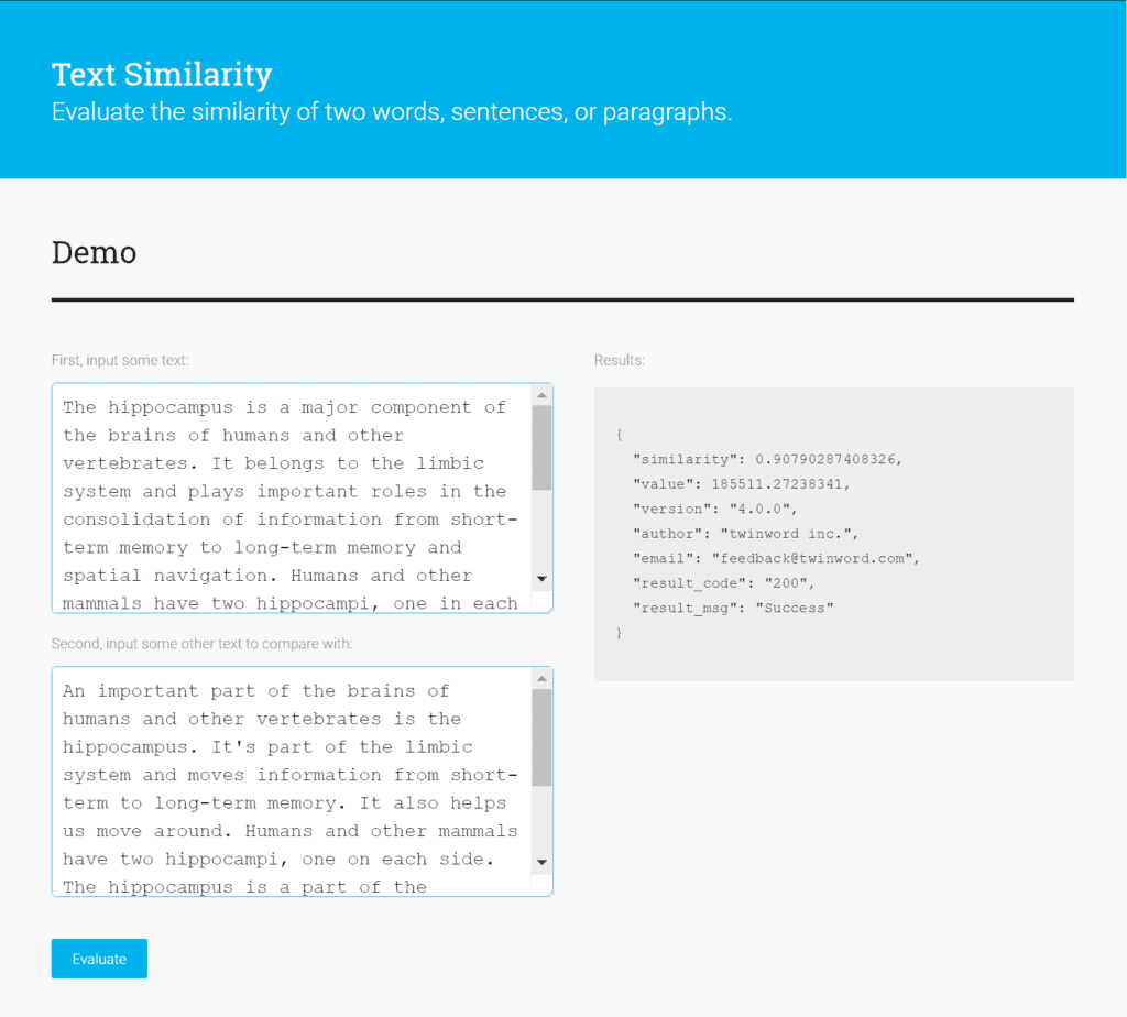 Text Similarity API demo screenshot - Demo is comparing the semantic similarity between two texts.