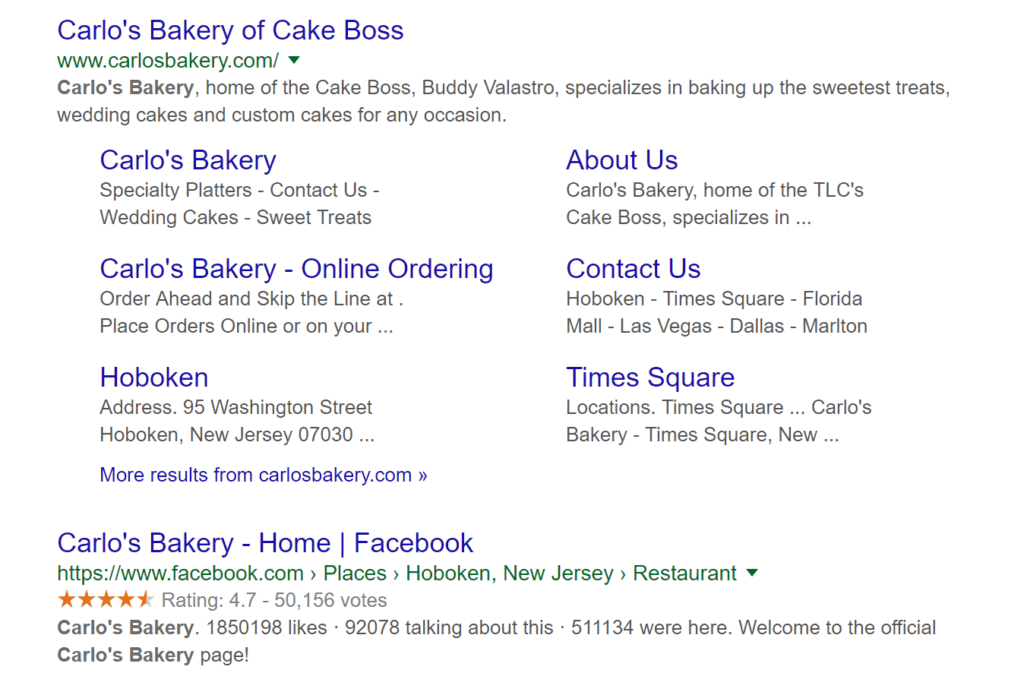 Schema markup example using Cake Boss website