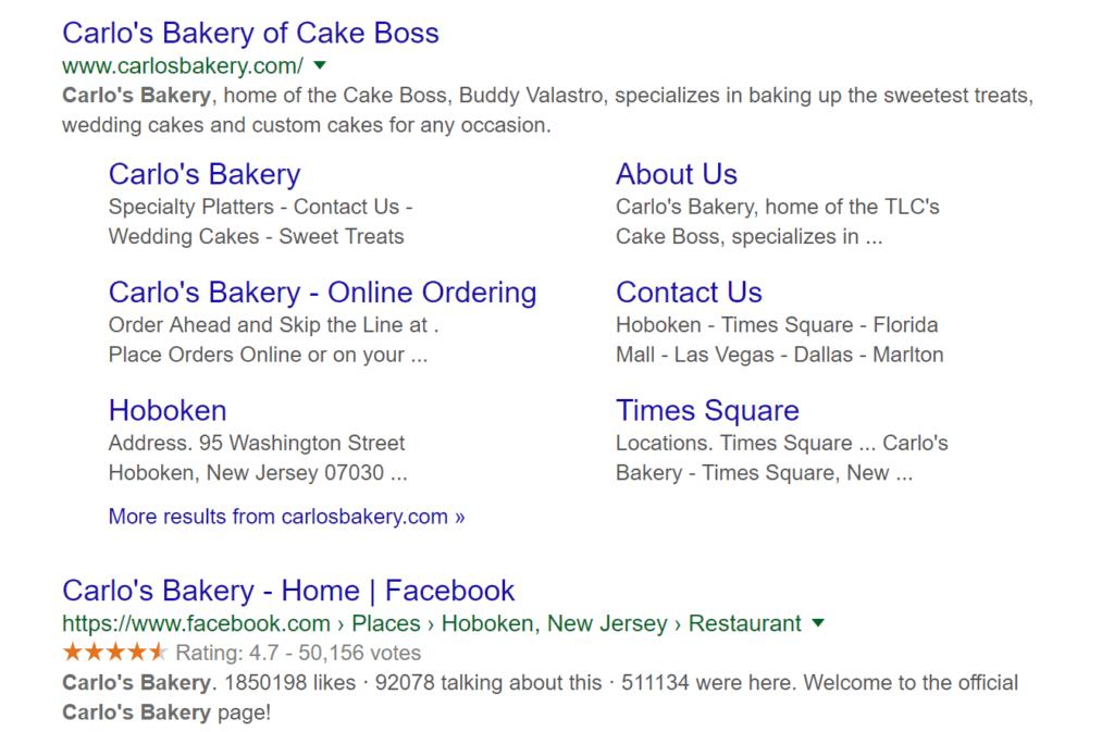 Schema markup example using Cake Boss website