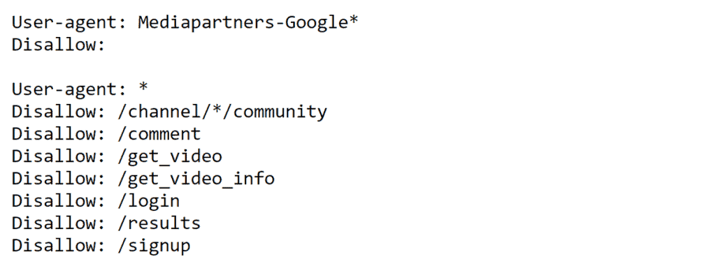 Example of a robots.txt file using YouTube